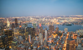 Lights of Manhattan at night, aerial view of New York City Stock Photos