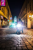 Lights of Motocycle at night in Wroclaw Royalty Free Stock Photo