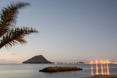 Lights of Mount Maunganui across Tauranga Harbour Royalty Free Stock Images