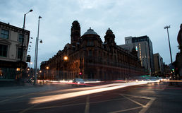 Lights of moving Cars in the streets of Manchester city in Engla Stock Photos