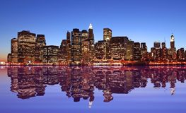 Lights of New York city. And reflection Royalty Free Stock Photography