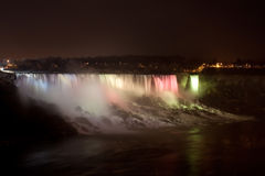Lights on Niagara Falls at night Stock Image