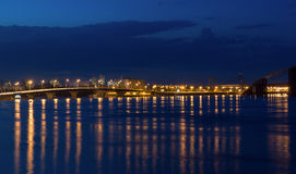 Lights night city and bridge Royalty Free Stock Images