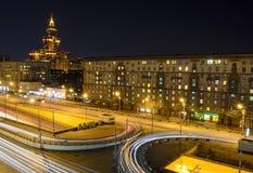 The lights of night city. Night Moscow. Leningradsky Prospekt in the light of lanterns Stock Image
