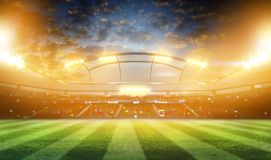 Stadium 3d rendering. Lights at night and football stadium 3D Royalty Free Stock Images