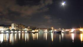 The lights in the night. Granatello, Portici, Italy. Moonlight in the Port of Granatello at night, in spring - Granatello, Portici, Italy stock image