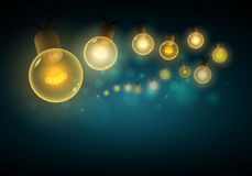 Lights in the night. Old style warm bulbs hanging on the bokeh night background. Vector illustration. Copy space. Ideal for christmas, new year, ramadan or all Royalty Free Stock Image