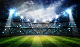 Lights at night and stadium 3d render, Royalty Free Stock Photography