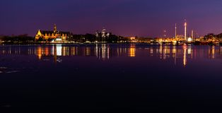 Lights at night in Stockholm. Stock Photography