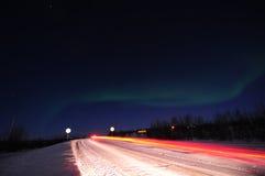 lights northern road Στοκ εικόνα με δικαίωμα ελεύθερης χρήσης