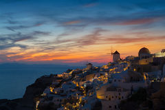 Lights of Oia village at night. Stock Images