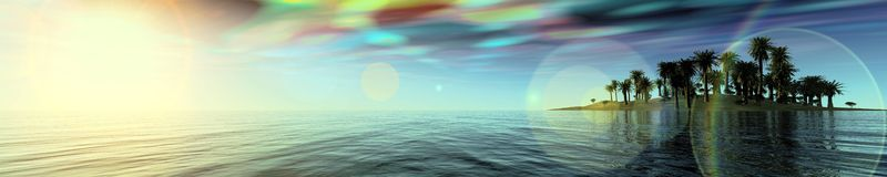 Lights panorama over the sea. Royalty Free Stock Photography