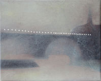 Lights on Paris bridge abstract oil painting Stock Image