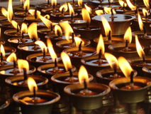 Lights for Peace. Lights of peace from a Buddhist Gumba, Nepal Stock Photo