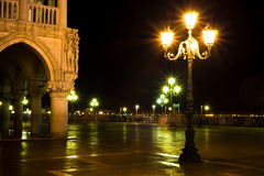Lights on Piazza San Marco at the night Royalty Free Stock Image