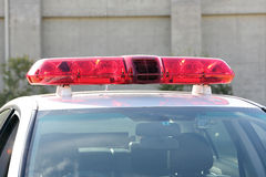 Lights of the police car. Police red light mounted on the roof of police car Royalty Free Stock Photos