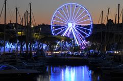Lights in the port of Antibes France, ferris wheel Royalty Free Stock Image