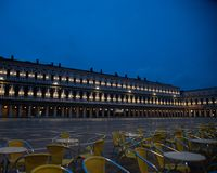 Photo at sunrise of the old Procuratie seen from the Florian cafe in Piazza San Marco in Venice, Italy. stock photography