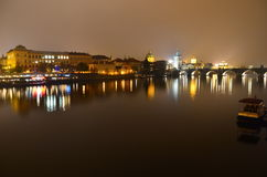 Lights of Prague. Lights over The Danube River, Prague, Czech Republic stock images