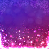 Lights on purple background with snowflakes. Stock Photo