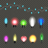 Lights realistic design elements. Garlands decorations. Led neon lamp Royalty Free Stock Photos