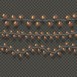 Lights realistic design elements. Garlands decorations. Led neon lamp Stock Photography