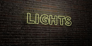 LIGHTS -Realistic Neon Sign on Brick Wall background - 3D rendered royalty free stock image Stock Photo