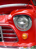 Lights in Red. Head and parking lights in antique red 1956 pickup truck Stock Photo