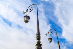 Lights of Red Navy bridge in St. Petersburg. Royalty Free Stock Photo