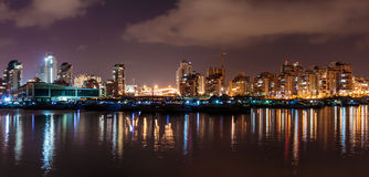 Lights are reflected on the sea, Ashdod marina at night. Israel Royalty Free Stock Photography