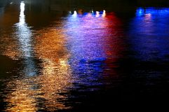 Lights reflecting on water Royalty Free Stock Image