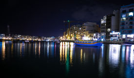 Lights and reflections in Spinola Bay, Malta Stock Photos