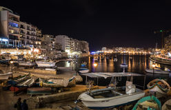 Lights and reflections in Spinola Bay, Malta Stock Image