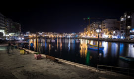 Lights and reflections in Spinola Bay, Malta Royalty Free Stock Photo