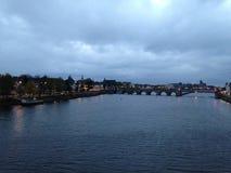 Lights on the river Maas stock image
