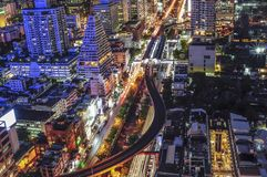 Lights of Sathorn in rush hour Stock Photography