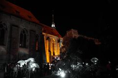 Lights and shadows. Night Shadows on the gothic church stock photos