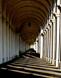 Lights and shadows of the wonderful architectural arcades on the Royalty Free Stock Image