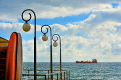 Lights and ship in the sea near Savona Royalty Free Stock Photography