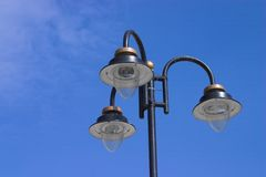 Lights on sky. Three lights on a pole stock images