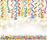 Lights, snowflakes, serpentine and confetti Stock Photography