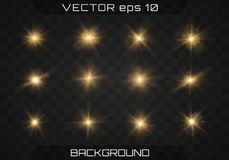 Lights sparkles isolated. Lens flare, explosion, glitter, line, sun flash, spark and stars. On a dark background transparent. Banner for Christmas celebrate vector illustration