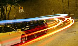 Lights speed. Chasing lights around Wanchai, Hong Kong Stock Images