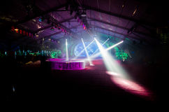 Lights on a stage. Colorful lights and smoke on a stage royalty free stock photos