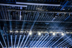 Lights on the stage. In the modern building royalty free stock photography