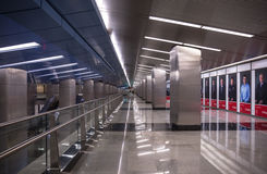 Lights, steel and perspective lines of a modern metro station in Moscow Stock Images