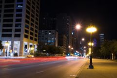 Lights of summer night Chicago Downtown streets stock photography