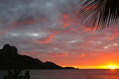 Lights of sunrise in a tropical island, Fiji royalty free stock images