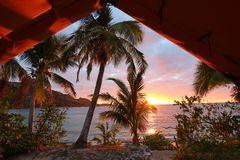 Sunrise on an island of Fiji stock images