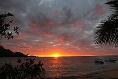 Lights of sunrise in a tropical island, Fiji stock image